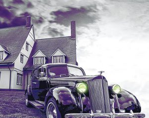 Ghostly Image of Antique Car Parked at the Whalehead