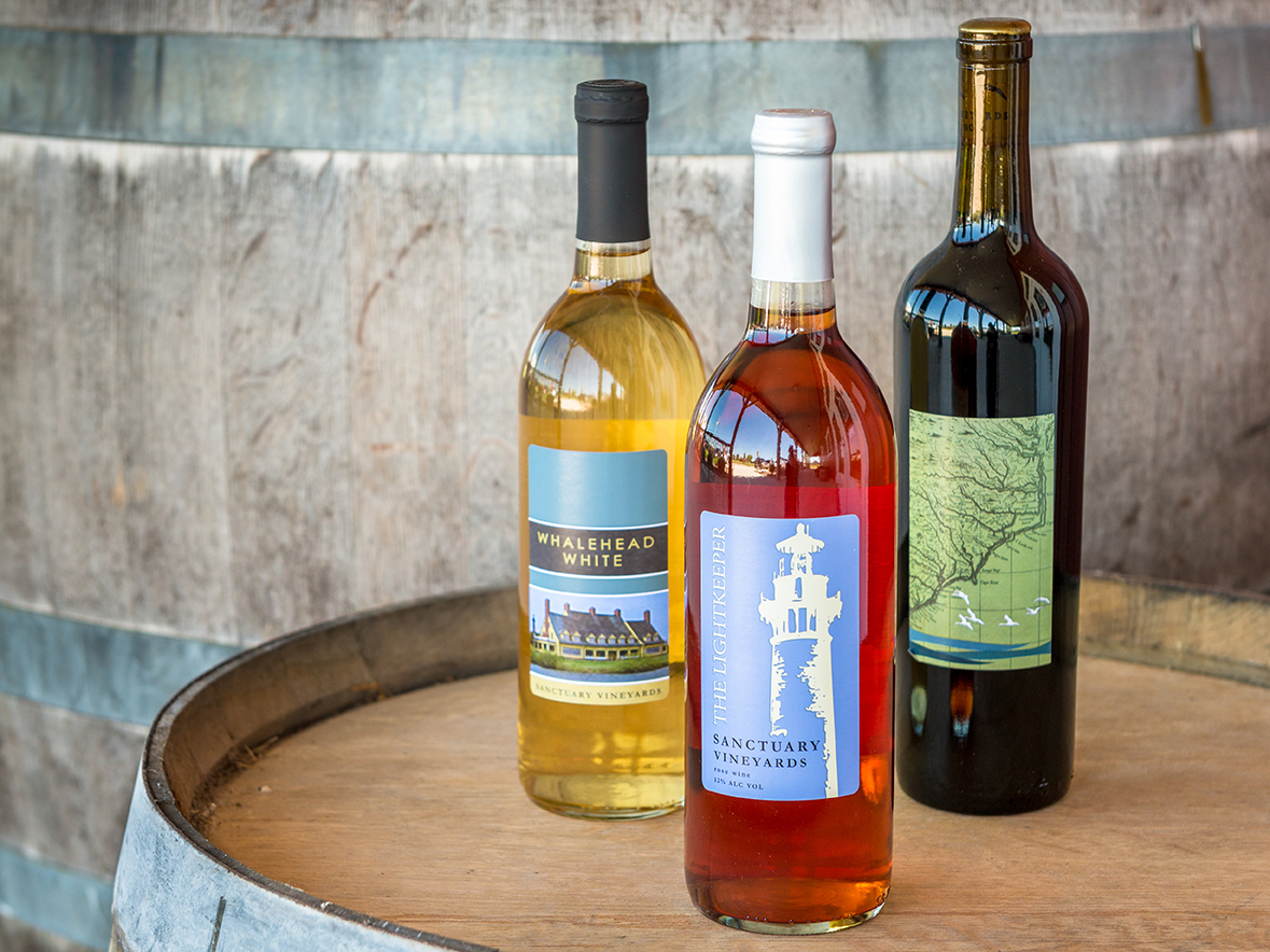 Bottles of Outer Banks Wines