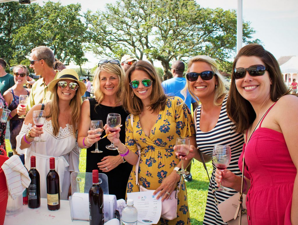 Women tasting wine at Whalehead