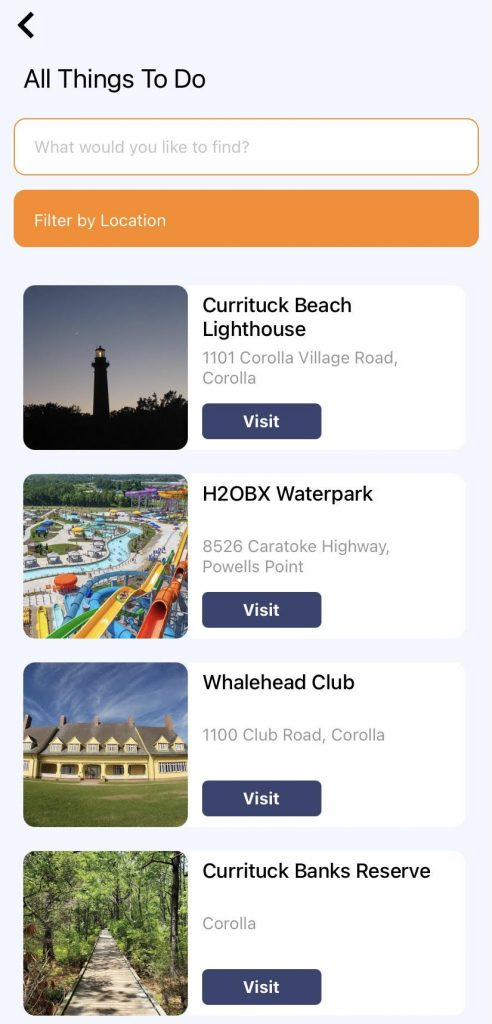 Corolla OBX App - Currituck County Department of Travel & Tourism